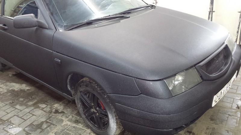 ВАЗ 2112  купе — оклейка авто пленкой черная алмазная крошка  — январь 2014