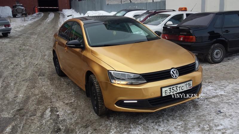 VW Jetta —  оклейка авто пленкой золотой хромированный карбон — 03.02.2014