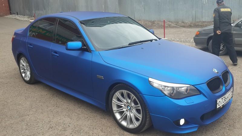 BMW 5 серии — оклейка пленкой синий матовый металик (матовый хром), 02.09.2014