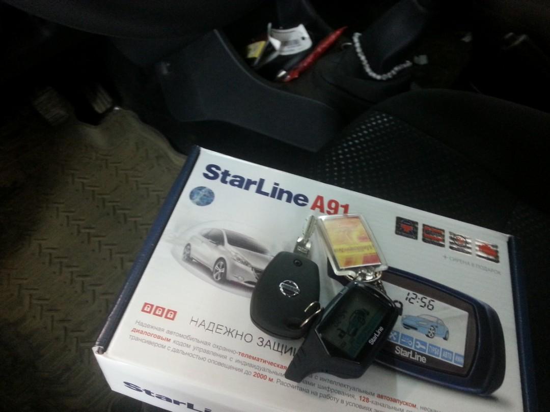 Nissan Almera — установка сигнализации с автозапуском Starline А91, установка парктроников — 30.11.2014