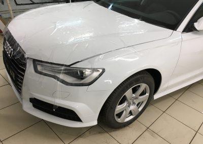 Бронирование полиуретановой плёнкой Hexis Bodyfence передней части автомобиля, тонировка пленкой Llumar — Audi A6