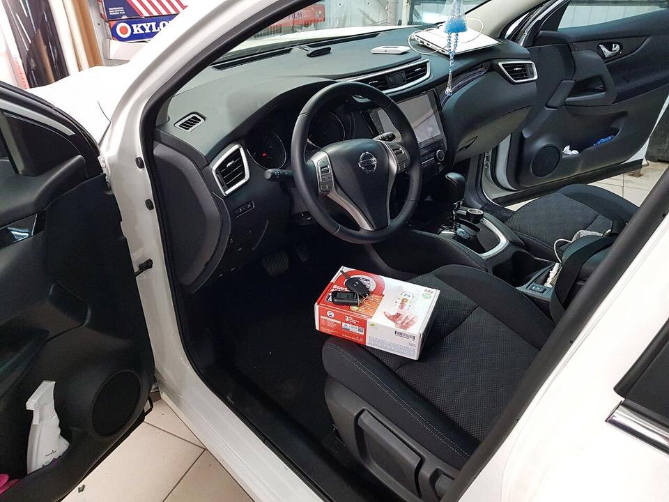 Сертифицированная установка сигнализации Starline A93, установка передних парктроников — Nissan Qashqai