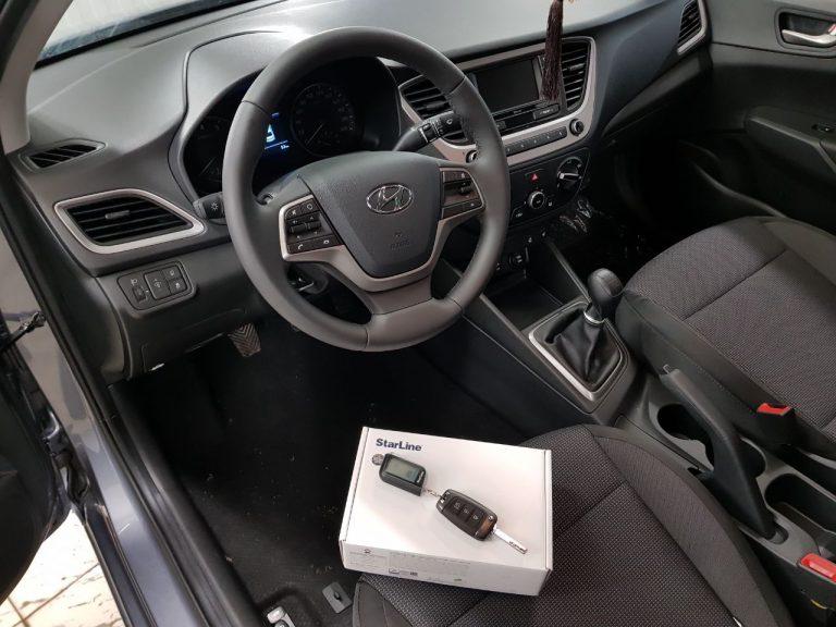 Сертифицированная установка сигнализации с автозапуском Starline A93 — Hyundai Solaris