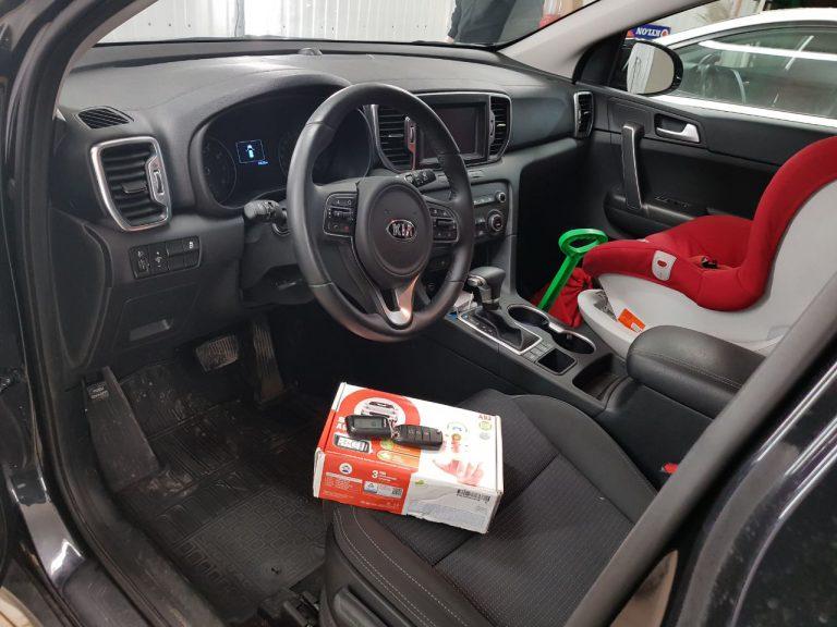 Сертифицированная установка сигнализации StarLine A93 на автомобиль GSM Kia Sportage