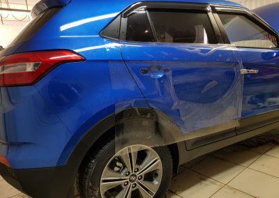 Бронирование антигравийной пленкой 4 дверей автомобиля Hyundai Creta.