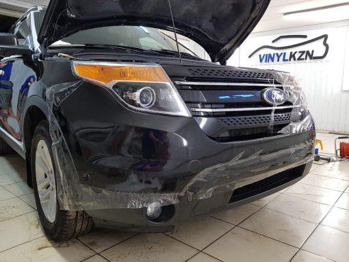 Бронирование антигравийной плёнкой Hexis Bodyfence передней части авто, зон риска, полная глубокая полировка — Ford Explorer