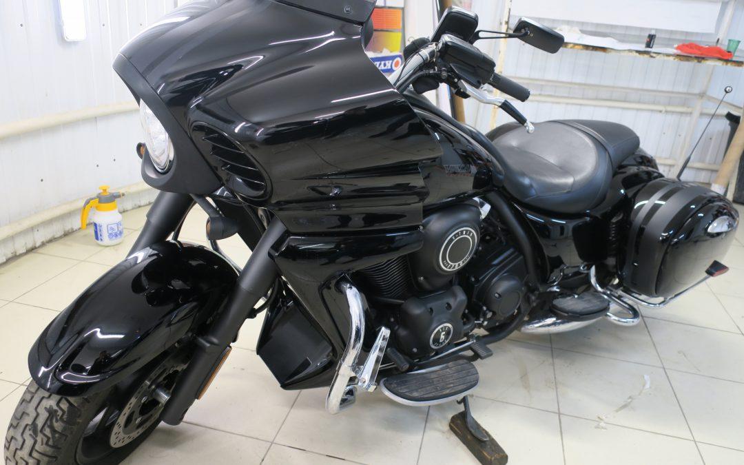 Легкая полировка и обработка жидким стеклом мотоцикла в Казани
