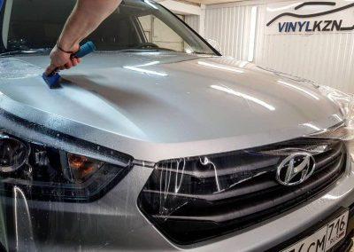 Бронирование антигравийной пленкой Oraguard уязвимой части крыши, капота и фар — Hyundai  Creta