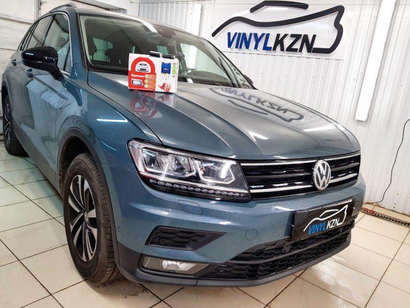 VW Tiguan — выполнили сертифицированную установка охранного комплекса с автозапуском StarLine A93
