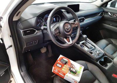 Mazda CX 5 — установка сигнализации StarLine E96 BT, оклейке хрома, бронирование зон погрузки на заднем бампере