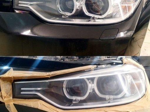 Полировка фар с дальнейшем бронированием их полиуретановой  пленкой Hexis Bodyfance — BMW 3