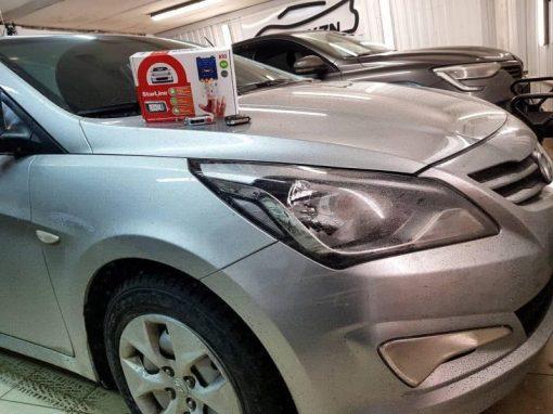 Hyundai Solaris — установили охранный комплекс StarLine A93 с дистанционным запуском двигателя