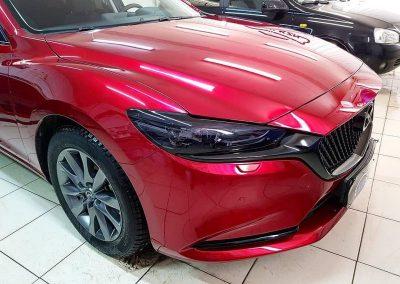 Mazda 6 — бронирование полиуретановой пленкой, полный антихром молдингов, бронирование фар пленкой Stek с тонирующим эффектом