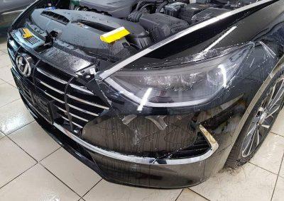 Новенькая Hyundai Sonata 2020 — бронирование капота и фар полиуретановой пленкой Hexis
