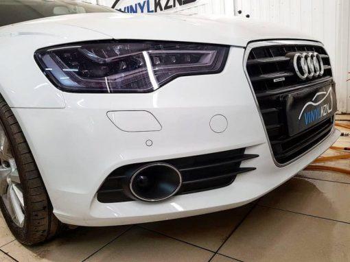 Audi A6 — бронирование передних фар пленкой Stek, оклейка крыши пленкой черный глянец Oracal 970, тонировка задних стекол пленкой Oracal 8300