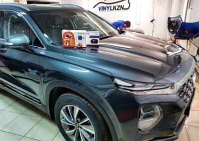 Новый Hyundai Santa Fe — установили охранный комплекс с автозапуском Starline S96, выполнили скрытую проводку видеорегистратора