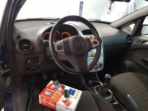 Opel Corsa — установили охранный комплекс с автозапуском Starline A93