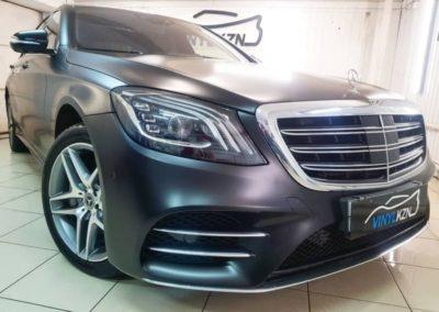 Mercedes S class — бронирование матовой полиуретановой пленкой, тонировка стекол Llumar 95%