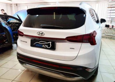 Забронировали капот и передние фары на обновленном Hyundai Santa Fe, тонировка стекол Llumar