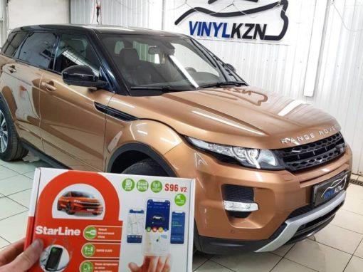 Range Rover Evoque — установили охранный комплекс с автозапуском и управлением с телефона Starline S96 BT GSM и GPS модулями, бронирование кузова полиуретановой пленкой